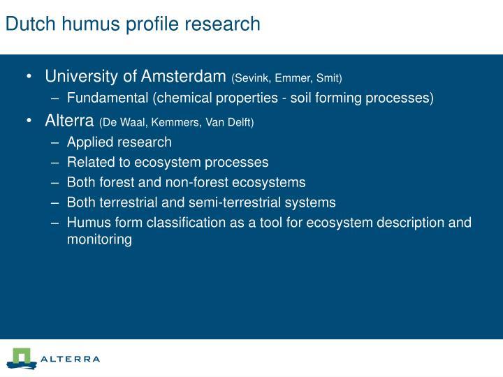 Dutch humus profile research