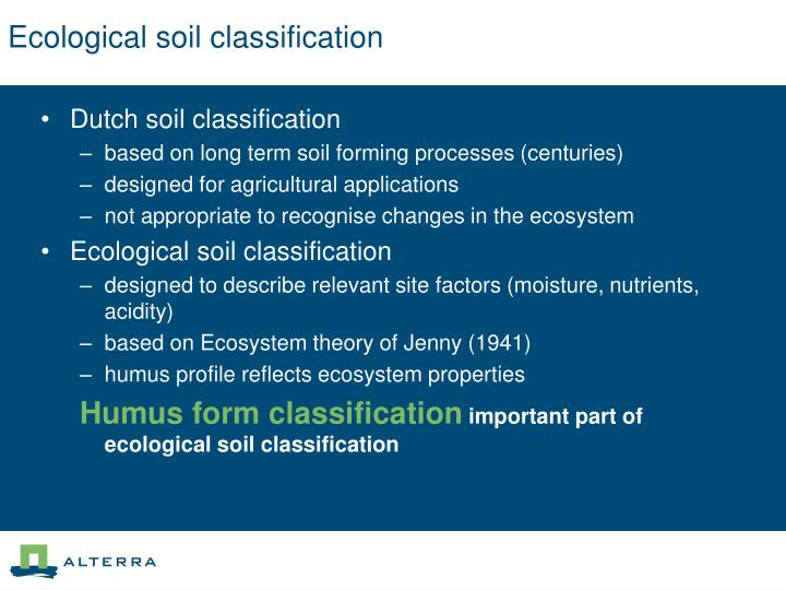 Ecological soil classification