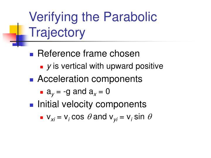 Verifying the Parabolic Trajectory