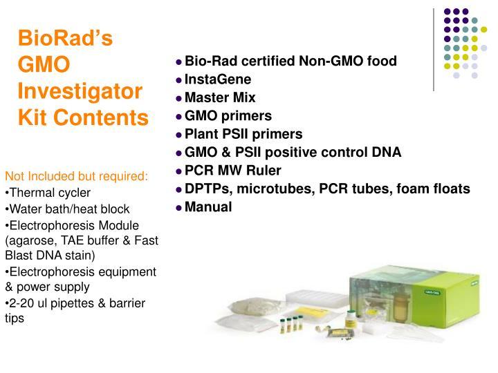 BioRad's GMO Investigator Kit Contents