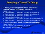 selecting a thread to debug