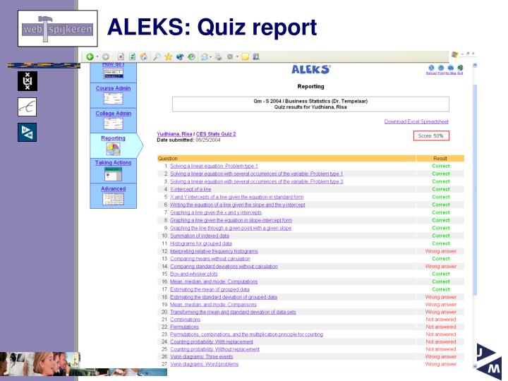 ALEKS: Quiz report