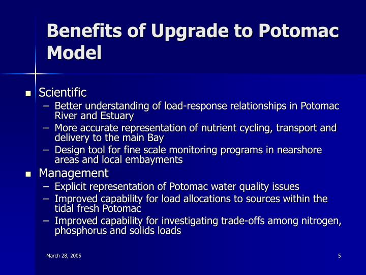 Benefits of Upgrade to Potomac Model
