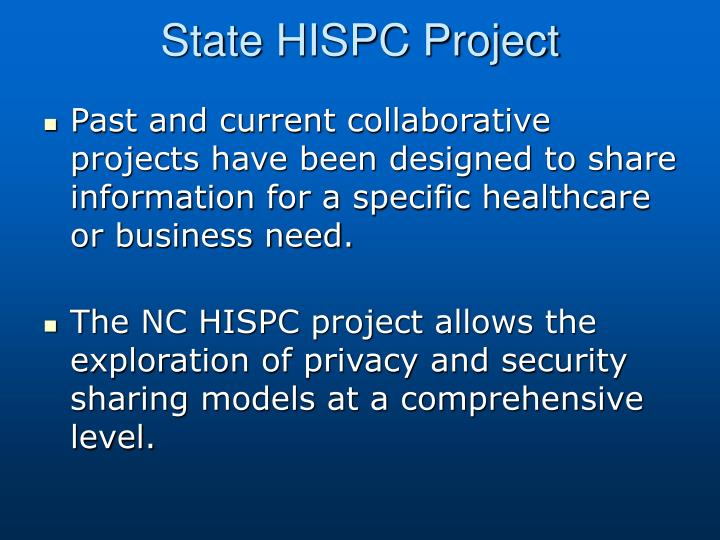 State HISPC Project