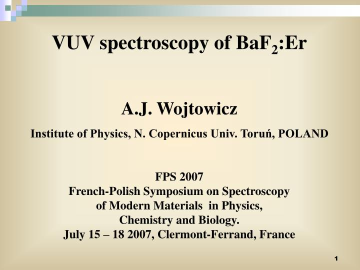 VUV spectroscopy of BaF