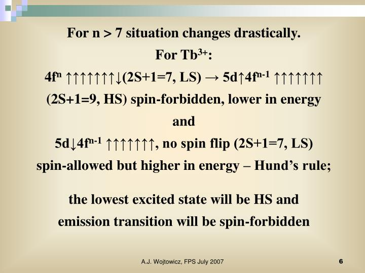 For n > 7 situation changes drastically.