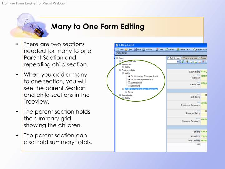 Many to One Form Editing