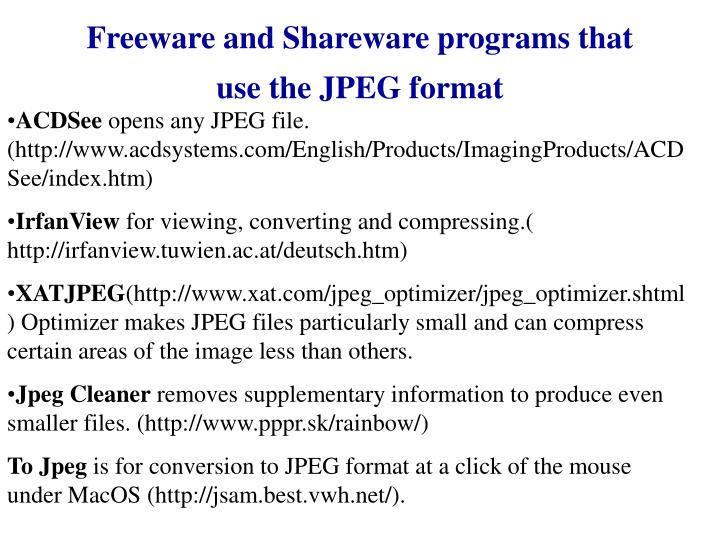 Freeware and Shareware programs that use the JPEG format