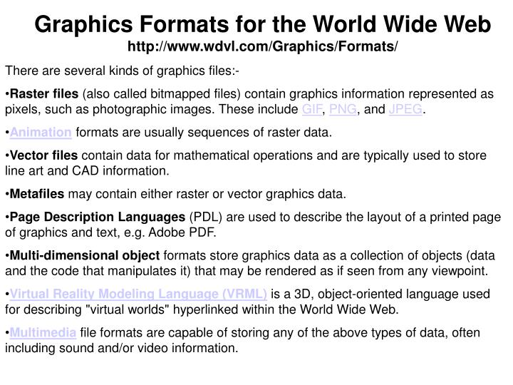 Graphics Formats for the World Wide Web