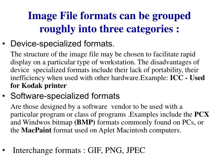 Image File formats can be grouped roughly into three categories :