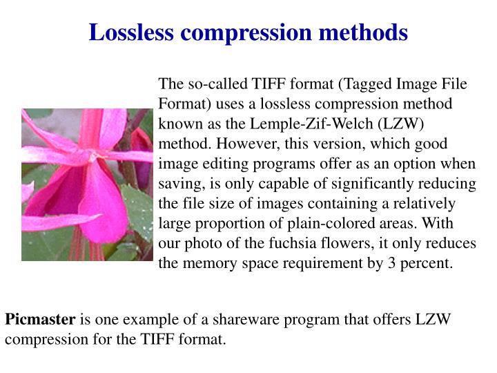Lossless compression methods