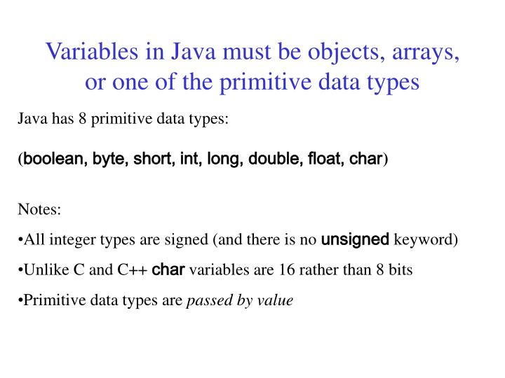 Variables in java must be objects arrays or one of the primitive data types