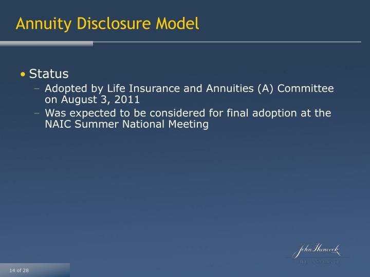 Annuity Disclosure Model