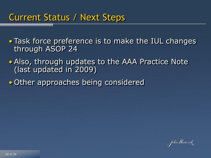Current Status / Next Steps