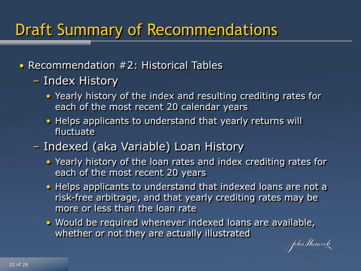 Draft Summary of Recommendations