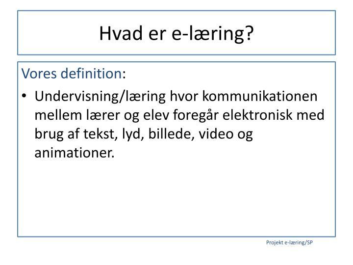 Hvad er e-læring?