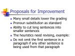 proposals for improvement