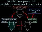 important components of models of cardiac electromechanics