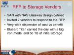 rfp to storage vendors