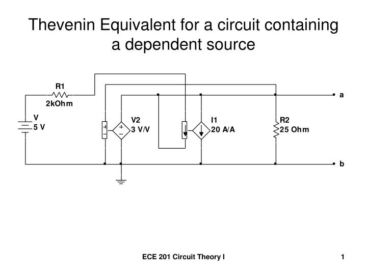 Thevenin equivalent for a circuit containing a dependent source