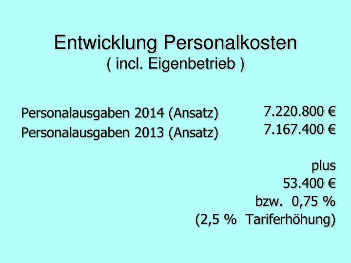 Personalausgaben 2014 (Ansatz)