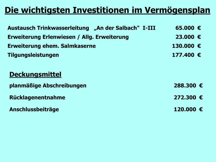 Die wichtigsten Investitionen im Vermögensplan