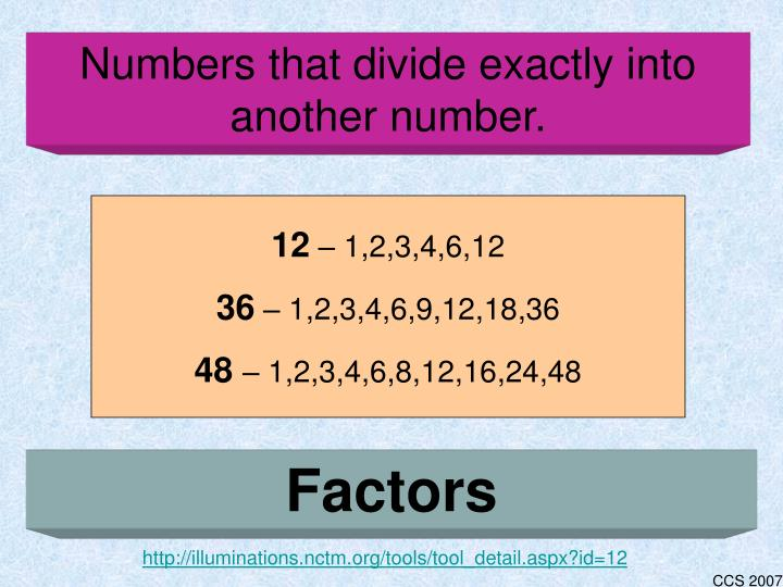 Numbers that divide exactly into another number.