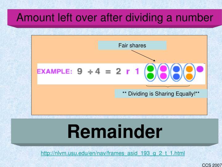 Amount left over after dividing a number