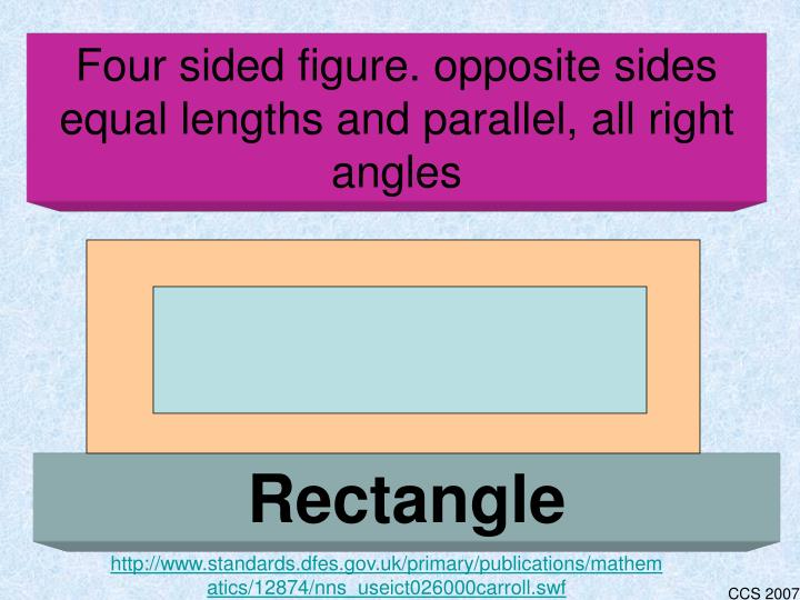 Four sided figure. opposite sides equal lengths and parallel, all right angles