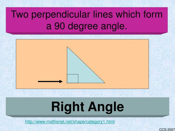 Two perpendicular lines which form a 90 degree angle.