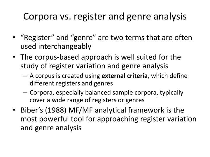 Corpora vs register and genre analysis