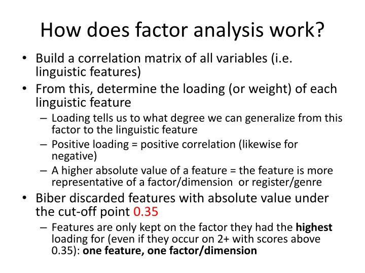 How does factor analysis work?