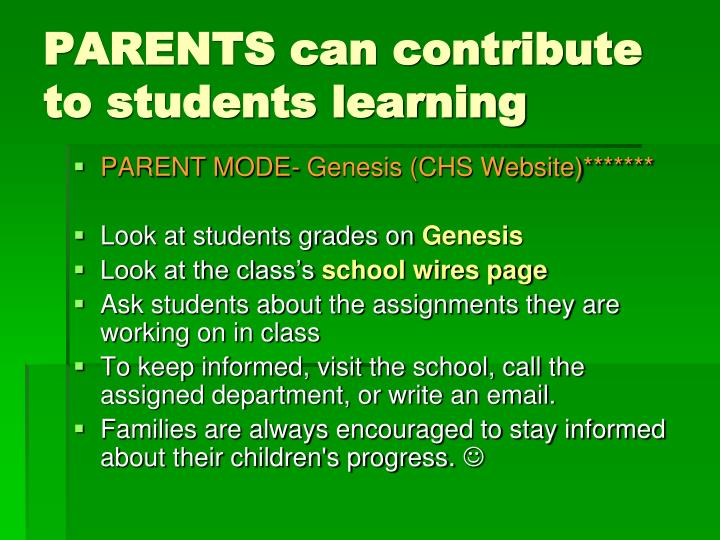 PARENTS can contribute to students learning