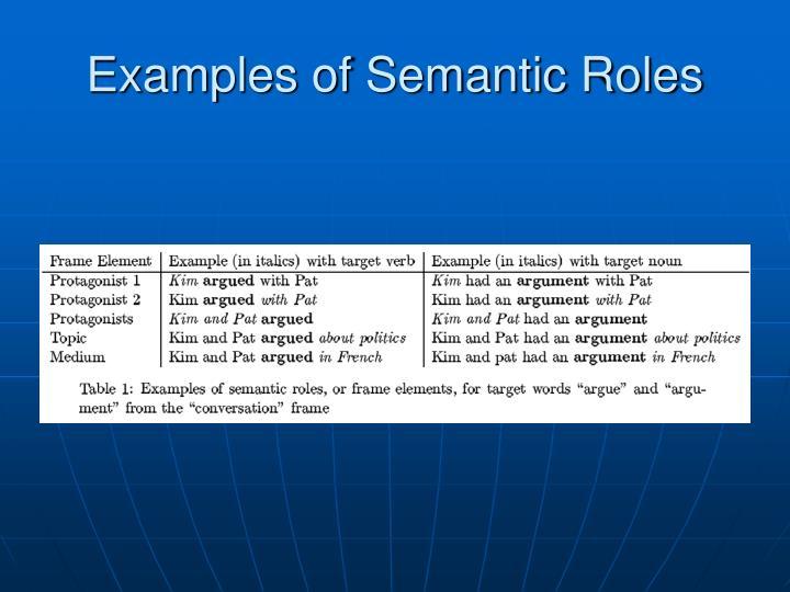 Examples of Semantic Roles