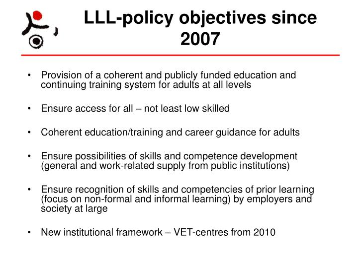 LLL-policy objectives since 2007