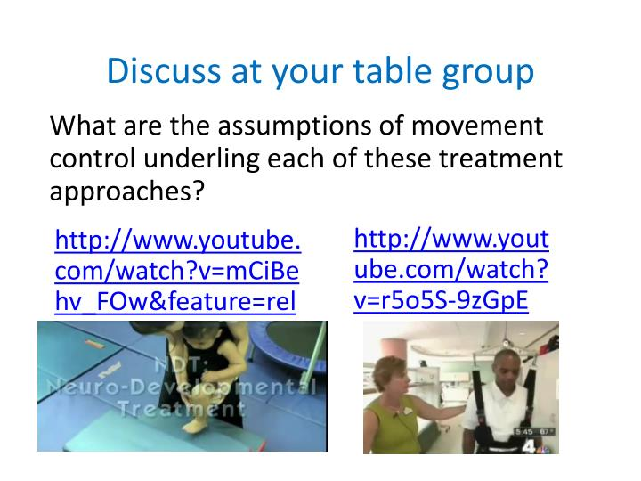 Discuss at your table group