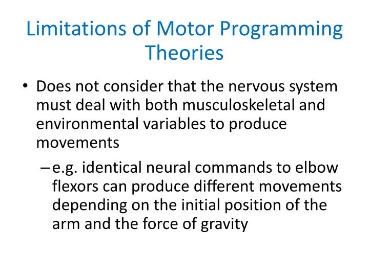 Limitations of Motor Programming Theories