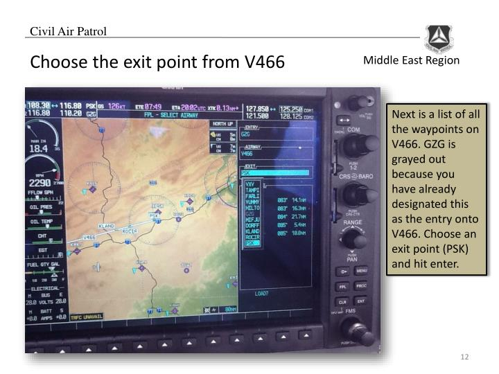 Choose the exit point from V466