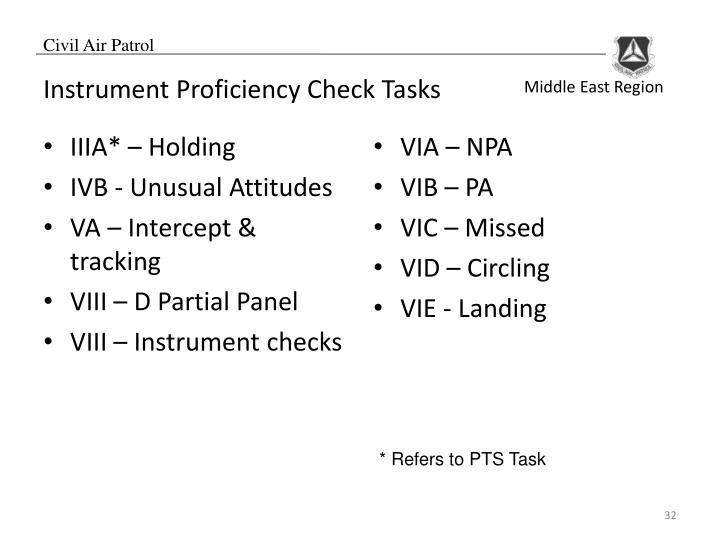 Instrument Proficiency Check Tasks