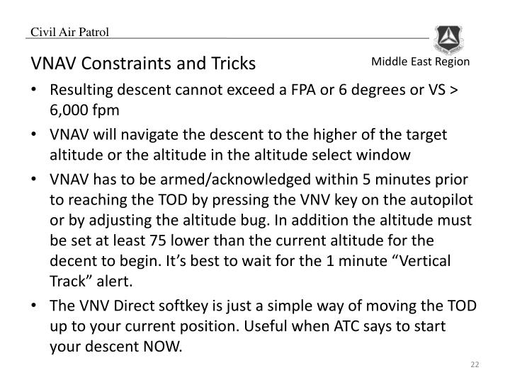 VNAV Constraints and Tricks