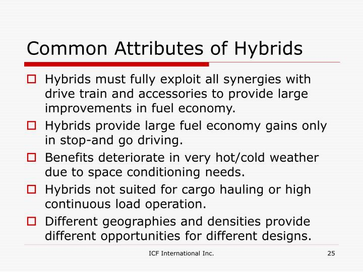Common Attributes of Hybrids
