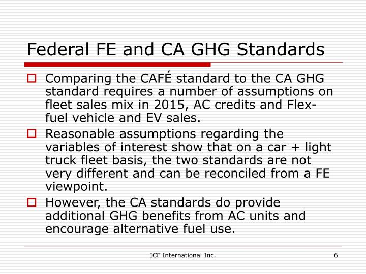 Federal FE and CA GHG Standards