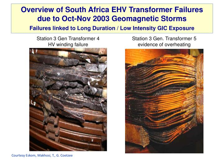Overview of South Africa EHV Transformer Failures due to Oct-Nov 2003 Geomagnetic Storms