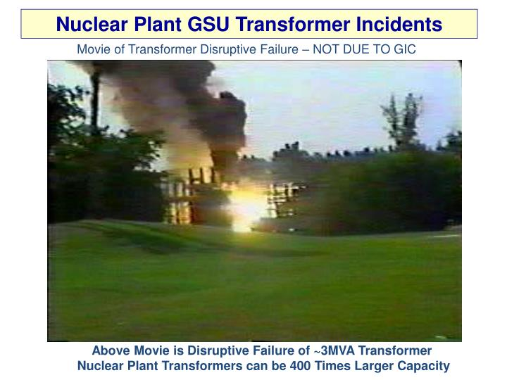 Nuclear Plant GSU Transformer Incidents