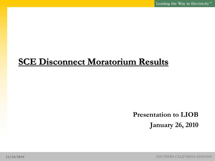 sce disconnect moratorium results n.