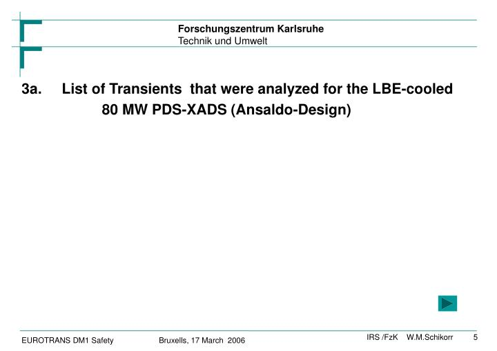 3a.List of Transients  that were analyzed for the LBE-cooled