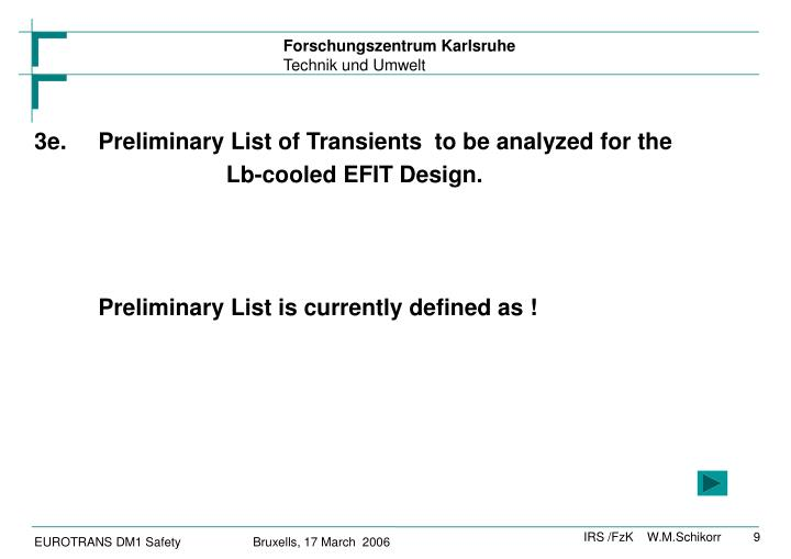 3e.Preliminary List of Transients  to be analyzed for the