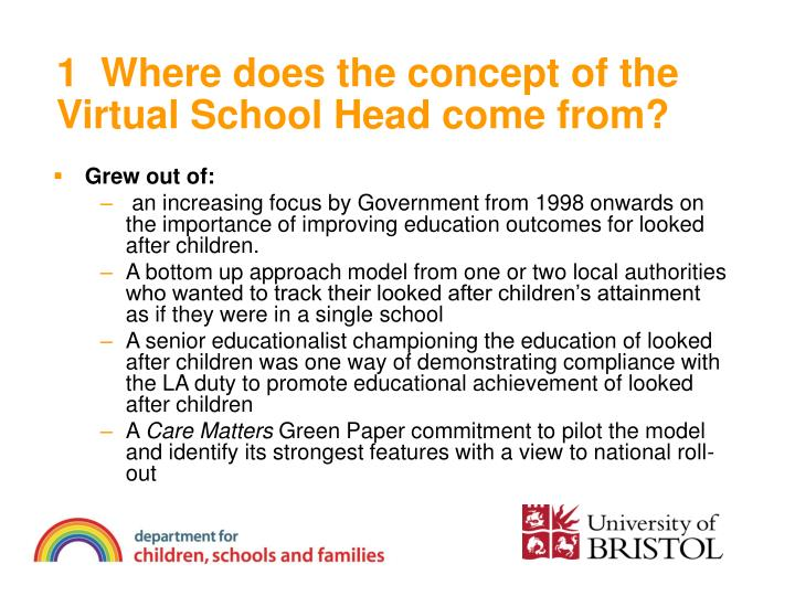 1 where does the concept of the virtual school head come from