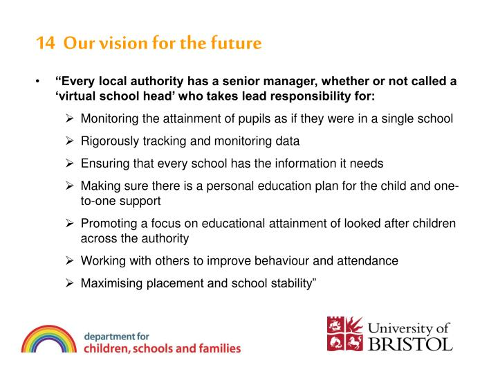 14  Our vision for the future