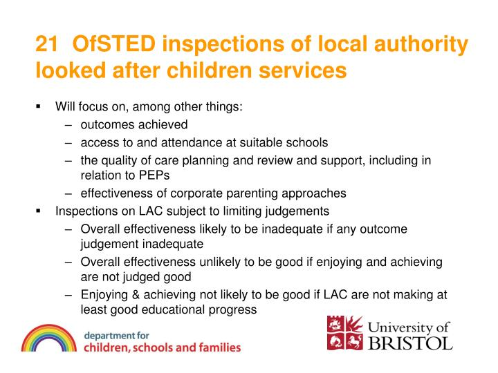 21  OfSTED inspections of local authority looked after children services